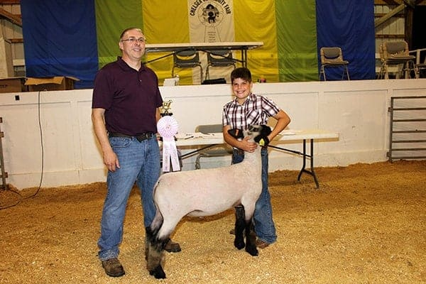 Sheep show Res GC Tanner Trinkle with judge
