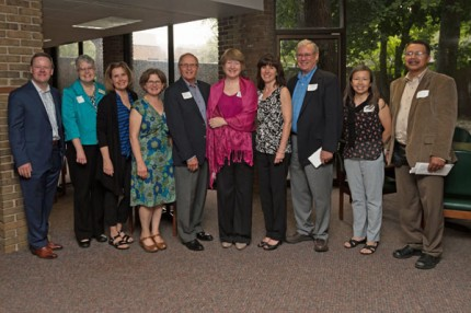 Founding Chelsea Community Foundation committee members Art Dils, Daphne Hodder, Paul Schaible, Ann Feeney, Mariam Noland (president, Community Foundation for Southeast Michigan) and Will Johnson. Courtesy photo. Representatives of the grantees who received surprise grants from the Chelsea Community Foundation at the June 14 event:­ Andy Schmina (St. Louis Center), Lisa French (UMRC Foundation), Nancy Paul (Faith in Action), Jerry Wilczynski (Chelsea District Library), Gerie Greenspan (Purple Rose Theatre), Elizabeth Sensoli (Chelsea District Library), Steve Olsen (Chelsea School District), Trinh Pifer (Chelsea Senior Center), Cary Church (Chelsea Area Historical Society).