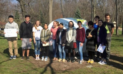 Courtesy photo. Students from the exchange program with Shimizu painted the rock over the weekend.
